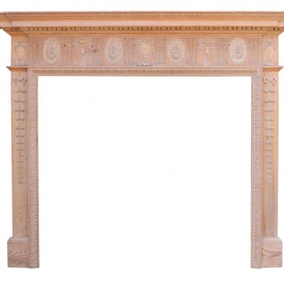 High Quality Edwardian Finely Carved Pine Fire Surround