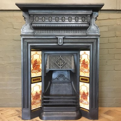 Antique Victorian Tiled Cast Iron Fireplace