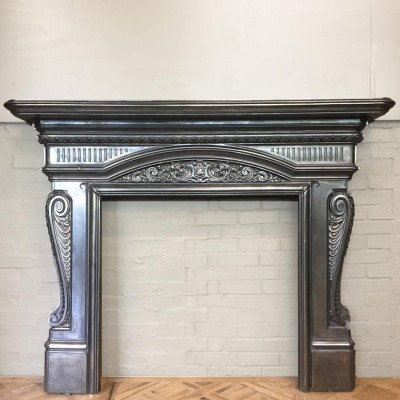 Antique Victorian Polished Cast Iron Fireplace