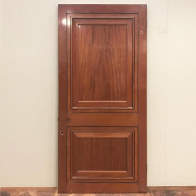 Art Deco Two Panelled Mahogany Door - 207cm x 98.5cm x 4.5cm