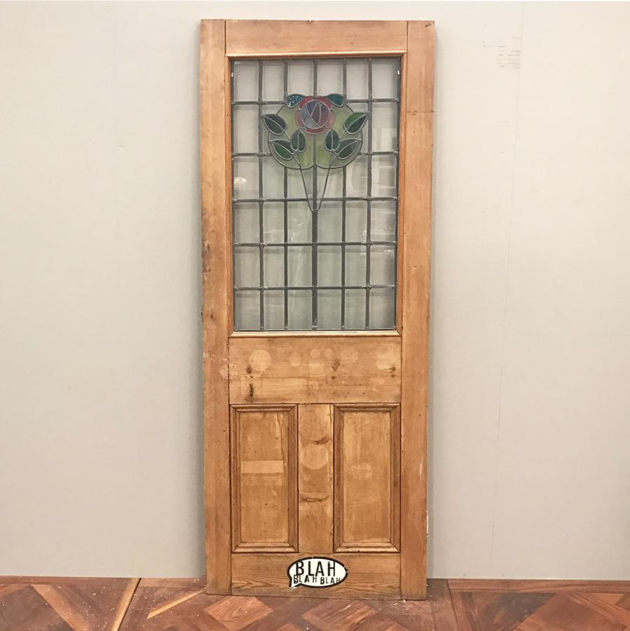 For Sale Art Nouveau Stained Glass Three Panel Door 189cm X 71cm