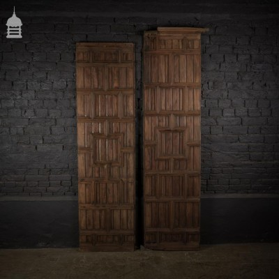 Pair of 19th C Hardwood Panels Panelling with Geometric Design