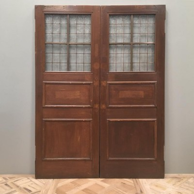 Antique Oak Glazed Double Doors - 152cm x 210 cm