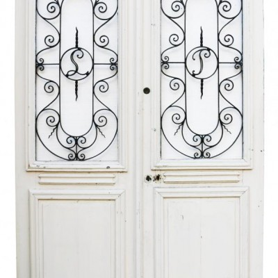 Pair Painted French Oak Exterior Doors With Wrought Iron Panel