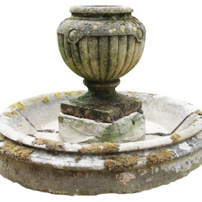 19th C.Gadrooned Limestone Urn With Circular Stone Water Feature