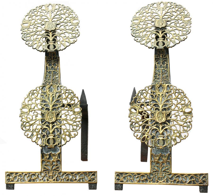 Pair Of Arts & Crafts Brass And Wrought Iron Fire Dogs