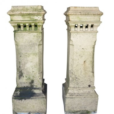 Matching Pair of Large Terracotta Victorian Chimney Pots