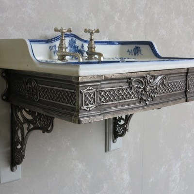 Old Victorian Porcelain Cauldon Wall Mounted Sink & Brackets