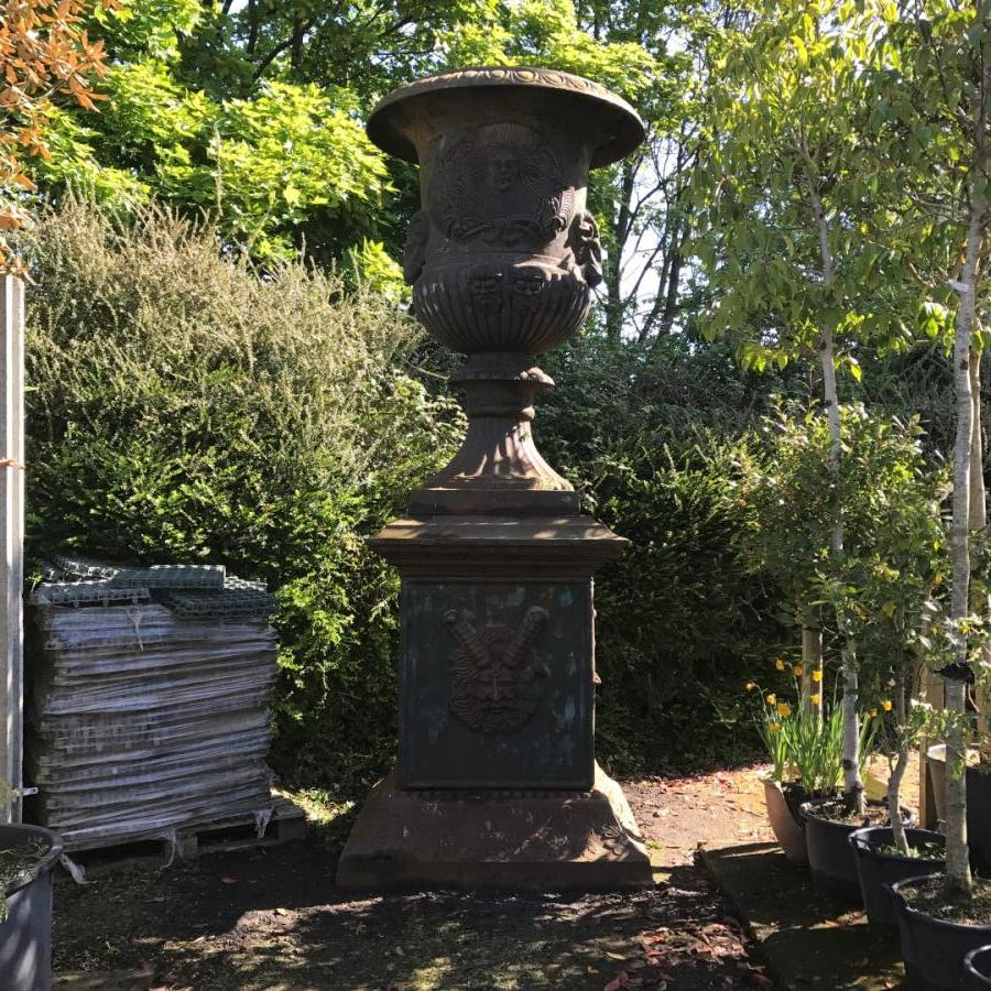 Pair Of Very Large Cast Iron Urns V V Reclamation