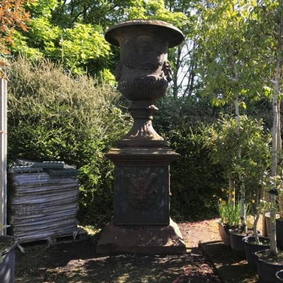 Pair of Very Large Cast Iron Urns