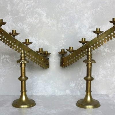 Pair of Original Solid Brass Victorian Candlesticks