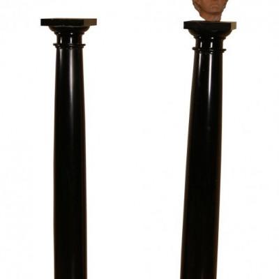 A pair of fine black Killkenny marble pedestals