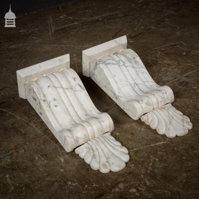 Pair of Victorian Carrera White Marble Corbels