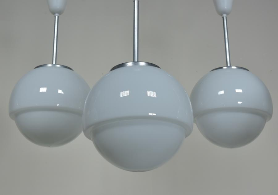 stepped opaline white glass globes