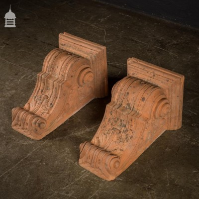 Beautiful Pair of Large 19th C Terracotta Corbels
