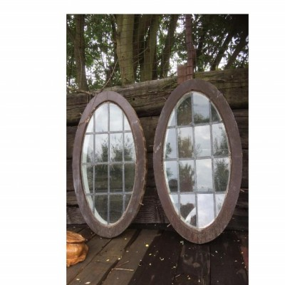 Reclaimed 1930's 2 oval shaped windows -now only 1 left
