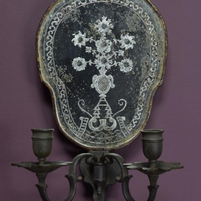pair 19th century mirrored wall sconces girandoles