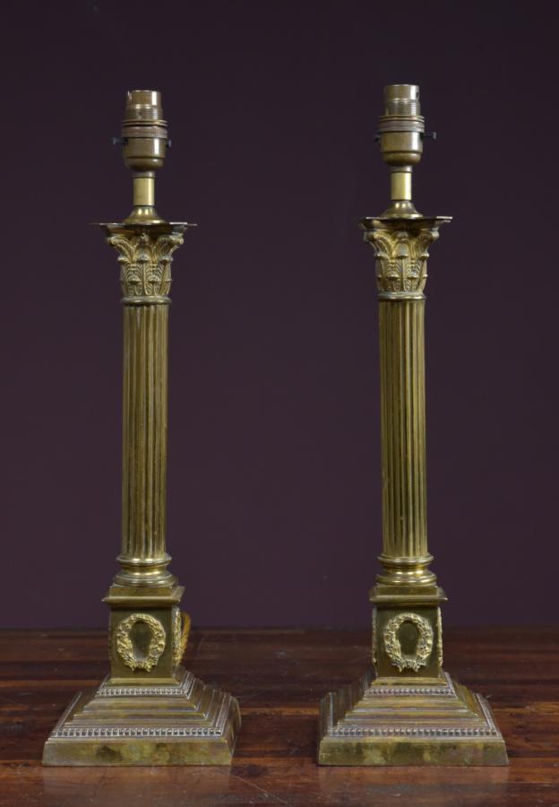 pair corinthian column table lamps