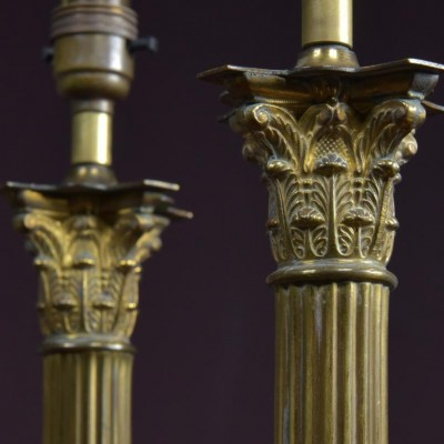 pair corinthian column table lamps