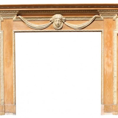 Early 20th C Adam Style Scottish Pine&Composition Fire Surround