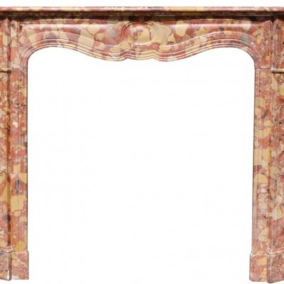Antique French Breche D'alpe Marble Fireplace