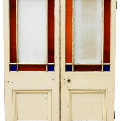 Pair Of Victorian Pine Interior Margin Glazed Double Doors