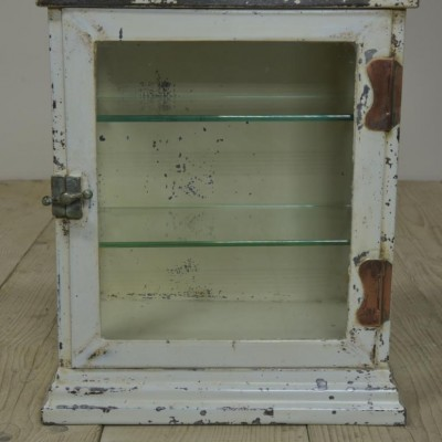 small vintage steel medical cabinet -older ovolo moulding