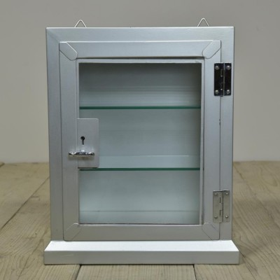small vintage steel medical display cabinet -silver