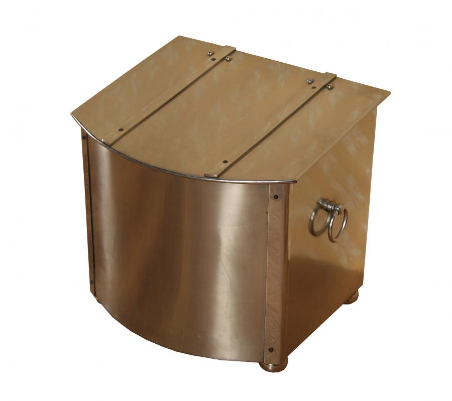 An Art Deco period stainless steel coal box with liner