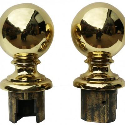 19th Century English Cast Brass Ball Finials