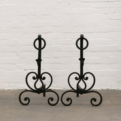Antique Wrought Iron Firedogs