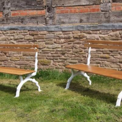 A pair of 19th century garden benches