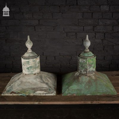 Pair of 19th Century Patinated Copper Lantern Tops with Finials