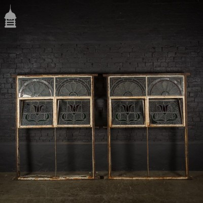 Pair of 1930's Metal Framed Windows with Coloured Leaded Lights