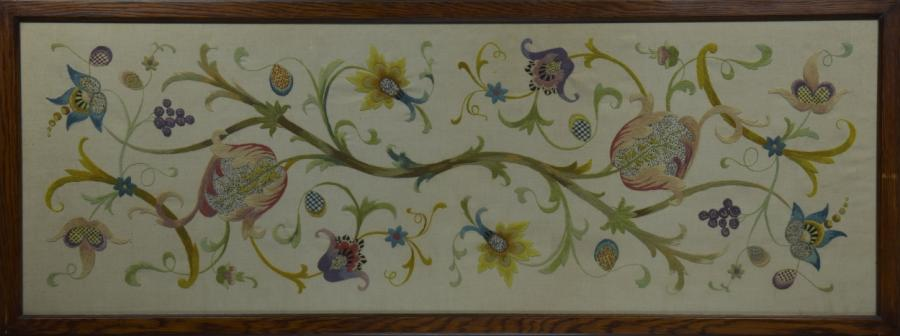 large framed  crewelwork embroidered panel