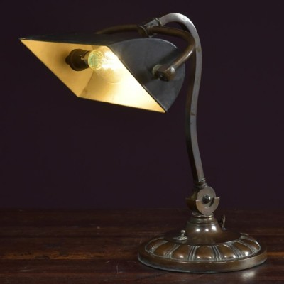 antique bronze desk bankers lamp