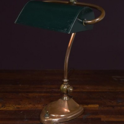 antique bankers  desk table lamp - heart shaped base