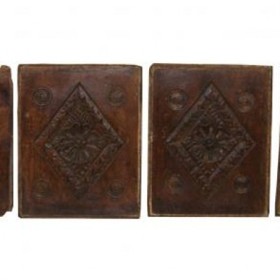 A set of six 16 / 17th century English carved oak panels