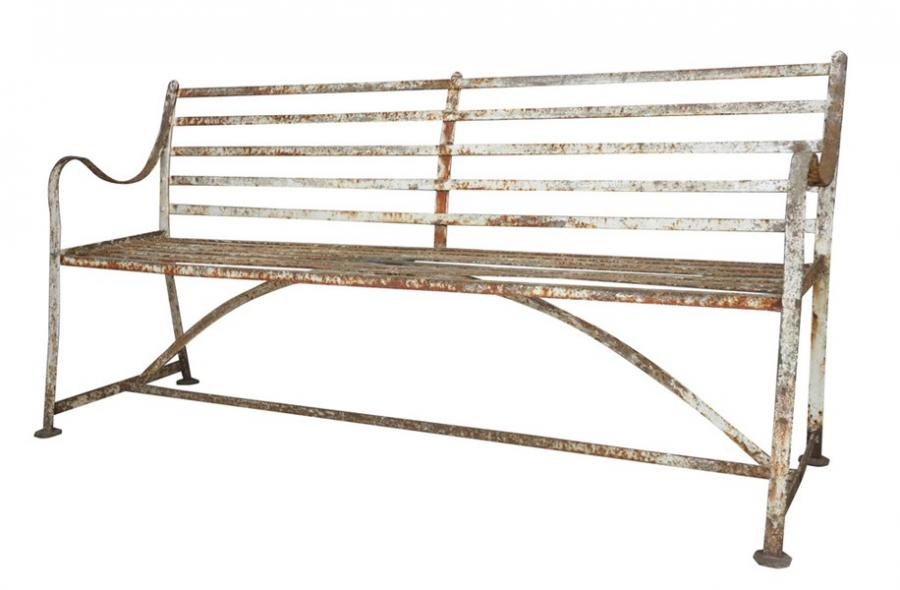 Antique Solid Iron Strapwork Outdoor Garden Bench