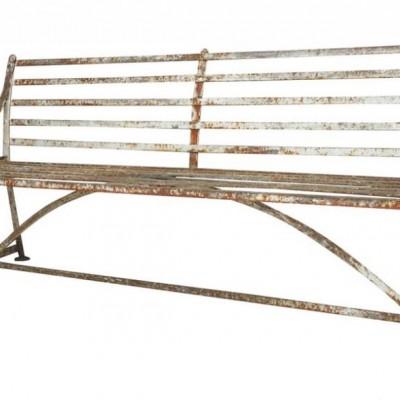 Antique Solid Iron Strapwork Outdoor Garden Bench