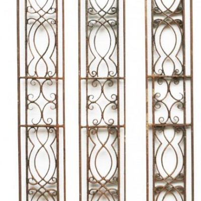 Set Of Three Reclaimed 19th Century Wrought Iron Panels