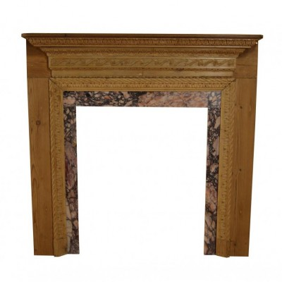 18/19th century carved pine chimneypiece with marble slips