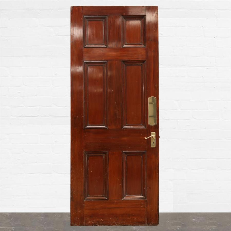For Sale Georgian Mahogany Six Panel Door 106cm X 226cm Salvoweb Uk