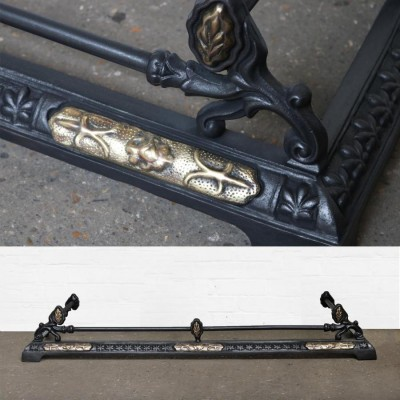 Antique Reclaim Cast Iron and Brass Fire Fender