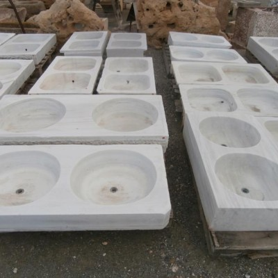 Old spanish Carrara marble double bowl kitchen sinks