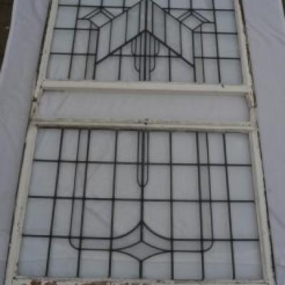 Huge leaded light stained glass window set. R574