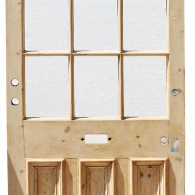 Exterior 19th Century Glazed Pine Door