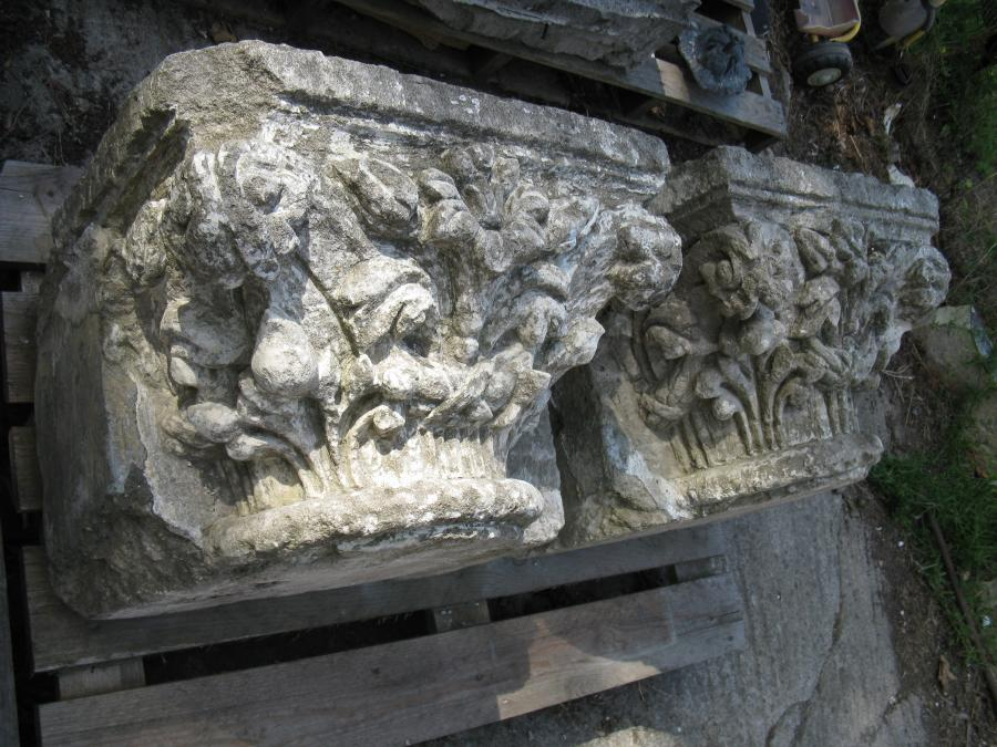 Pair Of Large Antique Carved Bathstone Capitols