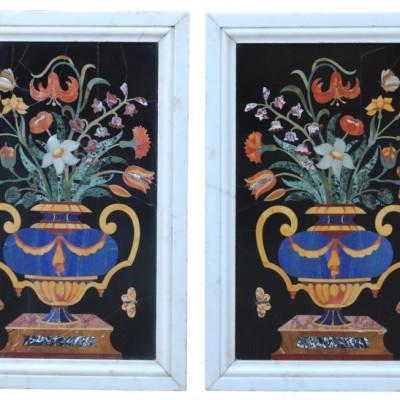 A Pair Of Large 19th Century Italian Pietra Dura Panels