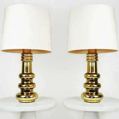 Pair of 1960s Kalmar, Austria Gold Glass Lamps. Made in Sweden